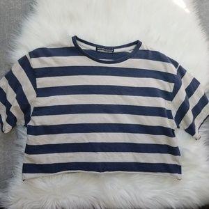 Brandy Melville - Blue Striped Crop Top